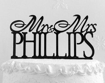 Mr and Mrs Pfillips Wedding Cake Topper.