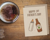 1st Father's Day, Beer Lover, Folded Card, Card for Dad, Craft Beer, Card for Man, Funny Saying, Baby Daddy