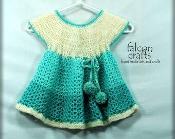 childs crochet dress,handmade childs dress,2-3 years,drawstring waist,buttoned back,aqua green and white,3 buttons,crochet acrylic