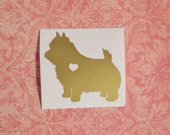 Norwich Terrier w/ Heart Tail Car Laptop Vinyl Decal Sticker