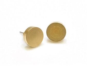 Geometric brass studs-solid circle studs-small earrings-dot