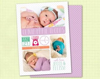 Birth Announcement / Baby Girl Birth Announcement / Photo Birth Announcement
