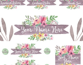 Etsy shop banner set watercolor floral new size cover photo image modern graphics grey pink large and small banner