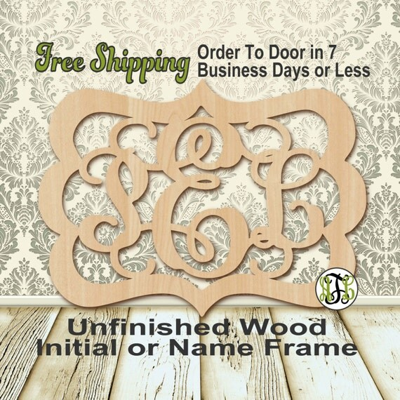 Unfinished Wood Peyton Frame Monogram, Name, Word, Custom, laser cut wood, wooden cut out, Wedding, Personalized, DIY