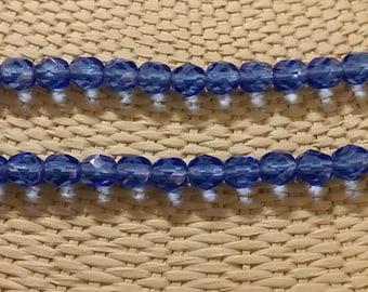 Sapphire 6mm fire polish beads - 50 pcs