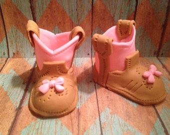 Fondant Cowgirl Boots Pink/Brown/Pink Bow