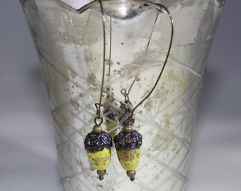 Mustard acorn lampwork bead with antiqued bronze components