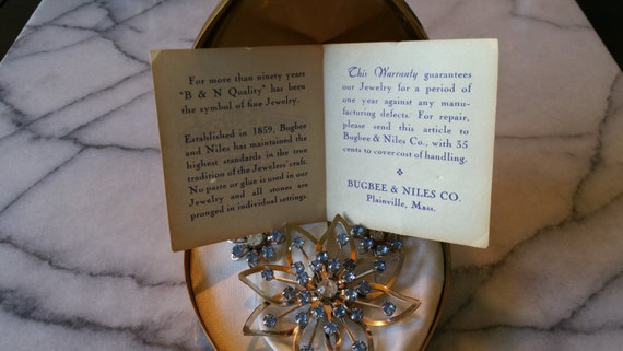 Vintage b n bugbee and niles rhodium flower with by for Bugbee and niles jewelry