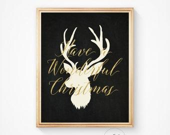 Christmas, Christmas print, Art print, Deer head, Christmas gift, Christmas deer, Deer, Deer wall art, Holiday decor, Deer silhouette
