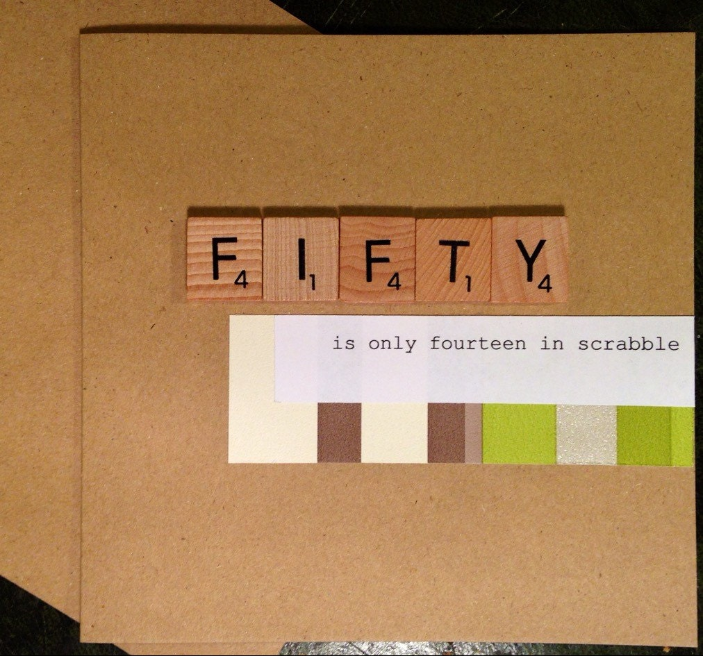 50th Birthday Card Scrabble Handmade Fifty is only fourteen – Handmade 50th Birthday Card Ideas