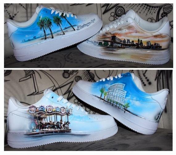 Nike Air Force 1 Airbrush Custom Graffiti Painted Shoes Art