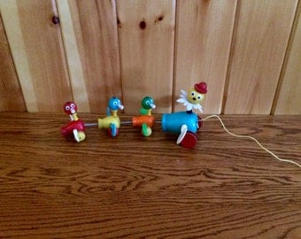 Fisher Price Gabby Goofies Pull Toy - Fisher Price Pull Duck Toy - Fisher Price #777 Gabby Goofies - Vintage Fisher Price Toys