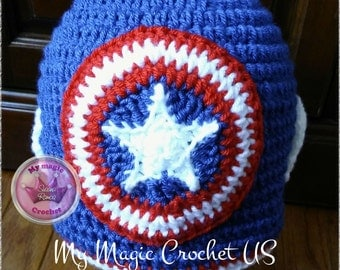 Captain America Crochet Hat Made with Soft yarn