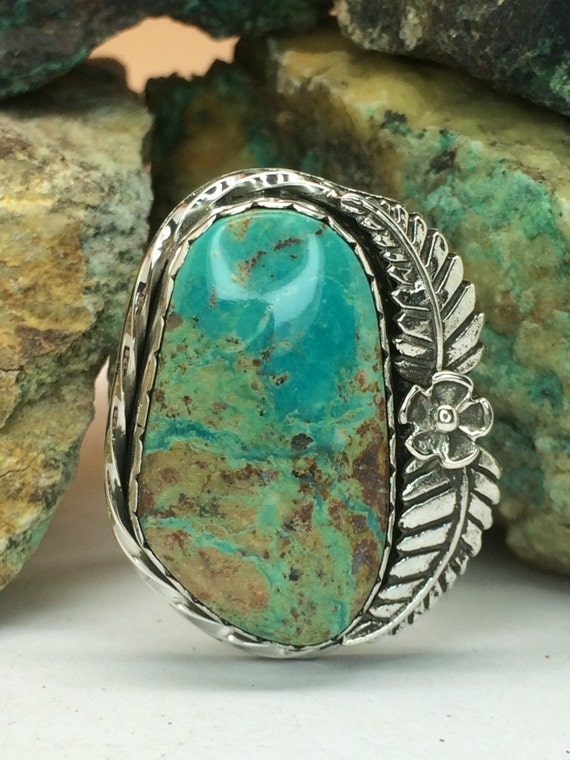 Royston Turquoise Set In Sterling Silver Ring Sz 8