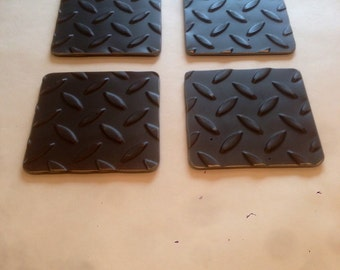 Industrial style steel coaster set of four