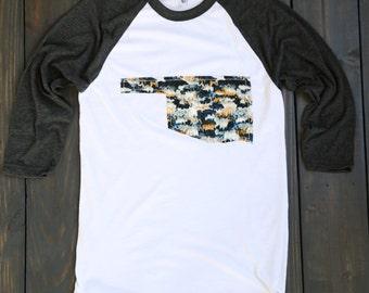 "Handmade Oklahoma Outline Baseball Shirt, T-Shirt,Tee- ""Midnight Macrame"""