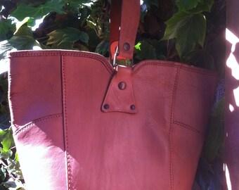 Vintage Tan Leather Bucket Bag