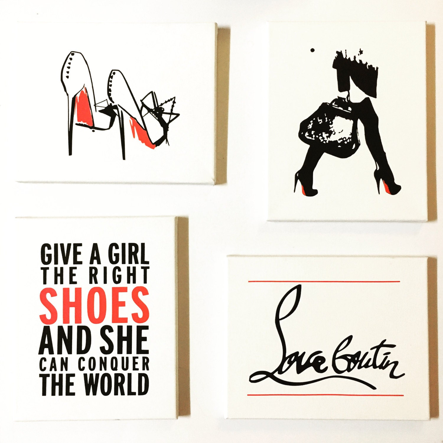 set of 4 wall art canvas louboutin home decor office. Black Bedroom Furniture Sets. Home Design Ideas