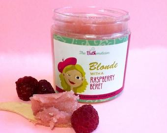 Raspberry Lemonade Sugar Scrub, BLONDE with a RASPBERRY BERET! Raspberry Sugar Scrub, Gift for her.