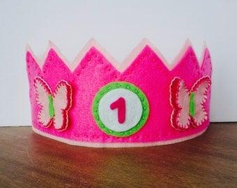 Felt Birthday Crown, Butterfly Crown, Felt Butterfly Crown