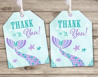Gift Tags Mermaid Purple and Aqua Favor Thank You Tags TT746