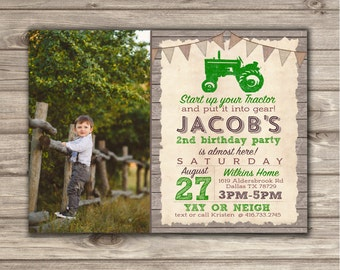 Photo Birthday Invitation Boy Green Tractor Printable Rustic Wood Farm Tractor Country Theme Party boy 1st 2nd 3rd 4th Birthday NV745