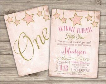 Twinkle Twinkle Little Star Birthday Invitations Shabby Pink Gold Glitter Party girl First Birthday Digital Printable Invitations NV1003