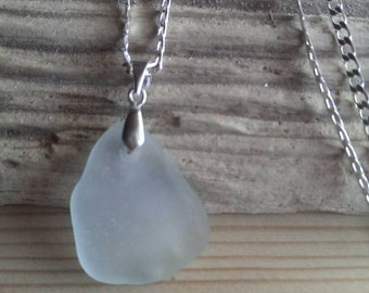 Frosty White Sea Glass Pendant Necklace - Large Size Pendant