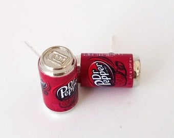 Dr Pepper Soda Can Earrings -Miniature food drink earrings, mini food jewelry, mini soda can, earrings, jewelry, accessories