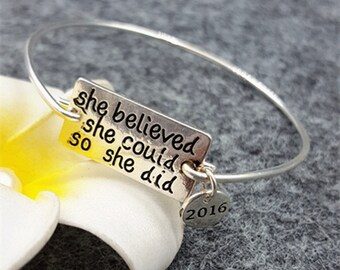 1pc  Letters Bracelet Cuff she believed she could so she did Bracelet Cuff MT0772