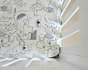 Crib sheet, modern, art deco, Picasso, cubist print, black and white fitted crib sheet