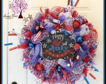 4th of July Wreath, Patriotic Wreath, Red, White & Blue Wreath, Door Wreath, Welcome Wreath, Star Wreath