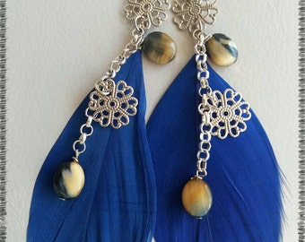 BLUE FEATHER LIGHT AND FILIGREE EARRINGS