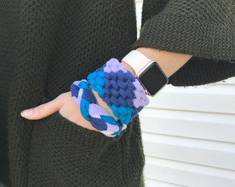 Braided Multicolor T-Shirt Bracelet, Friendship Bracelet, Blue, Purple, and White Yarn Bracelet, Up-cycled Cotton Jewelry