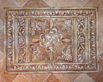 French Country Fleur de lis Medallion Cast Stone Backsplash Tiles Set