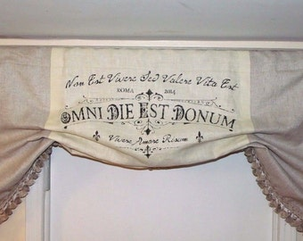 """Custom """"Bay Window"""" French Country/ Latin Script With High-End Linen Valances"""