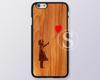Banksy balloon girl iPhone 6 case, Wood Print iPhone 6 plus case, iPhone 6s case, iPhone 6s plus case, Wood iPhone 5 case, SB-24