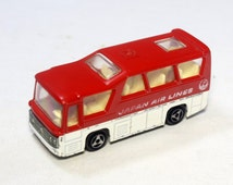 Vintage Majorette Red Minibus Japon Air Lines - Ways. Made in France Metal Diecast Small Car - Toy. Majorette Collectibles Toys