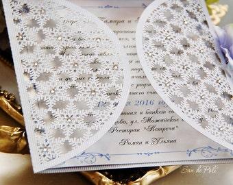 Sale 50% - Snowflake winter wedding card COVER Invitation 5x5 svg, dxf laser cut template Stencils Cricut Cameo Digital Download