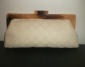 Marchioness R.H Macy & Co. NY Woven Clutch With Acrylic Closure 60's Excellent!