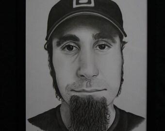A3 Original Pencil Drawing of Serj Tankian System of a Down