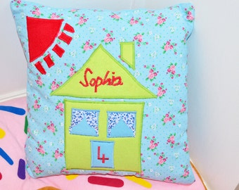 Children's Personalised House Cushion, Children's Personalised Birthday Cushion,