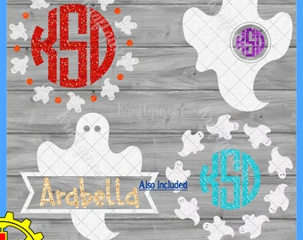 Ghost Elements Circle Frame Monogram Wreath SVG DXF cut file for Cricut Silhouette Scan N Cut Commercial Use
