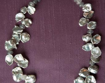 Big Gray Cutured Keshi Pearl Neacklace