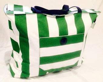 Green and White Striped Beach Bag/Tote
