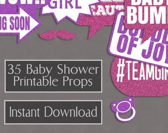 35 Baby Girl Printable Props, Printable Baby Shower photo booth props, girly pink glitter shades S1E3 baby reveal diy party instant download