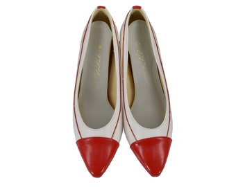 Vintage Shoes, 1980s Shoes, 80s Shoes, Red and White Pumps, Vintage Pumps, 80s Pumps, 80s Heels, Pointy Toe, Womens Size 6.5, Size 6 1/2