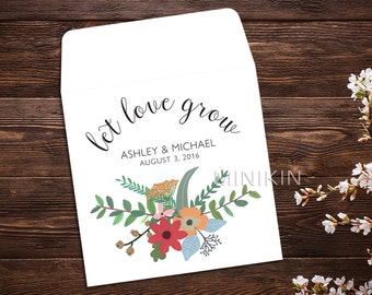 Personalized Seed Packet, Seed Favor, Let Love Grow, Wedding Favor, Boho Chic, Seed Packet, Wildflower Seeds, Seed Packet Favor x 25