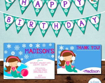 Mermaid Winter Pool Party Package, Winter Pool Party Birthday Invitation, Mermaid Pool Party