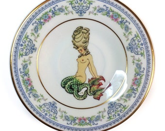 Vintage - Illustrated - Mermaid - Plate - Upcycled - Wall Display - Altered - Antique - Plate